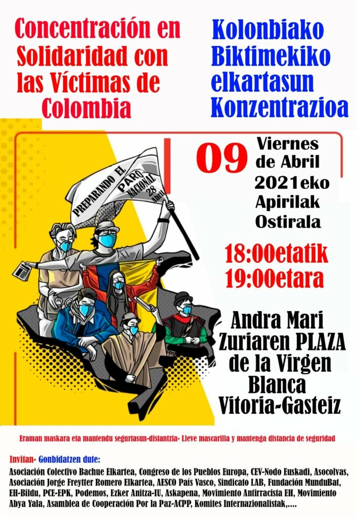En el país vasco existe y está activo uno de los nodos de apoyo a la Comisión de la Verdad de Colombia en Europa.