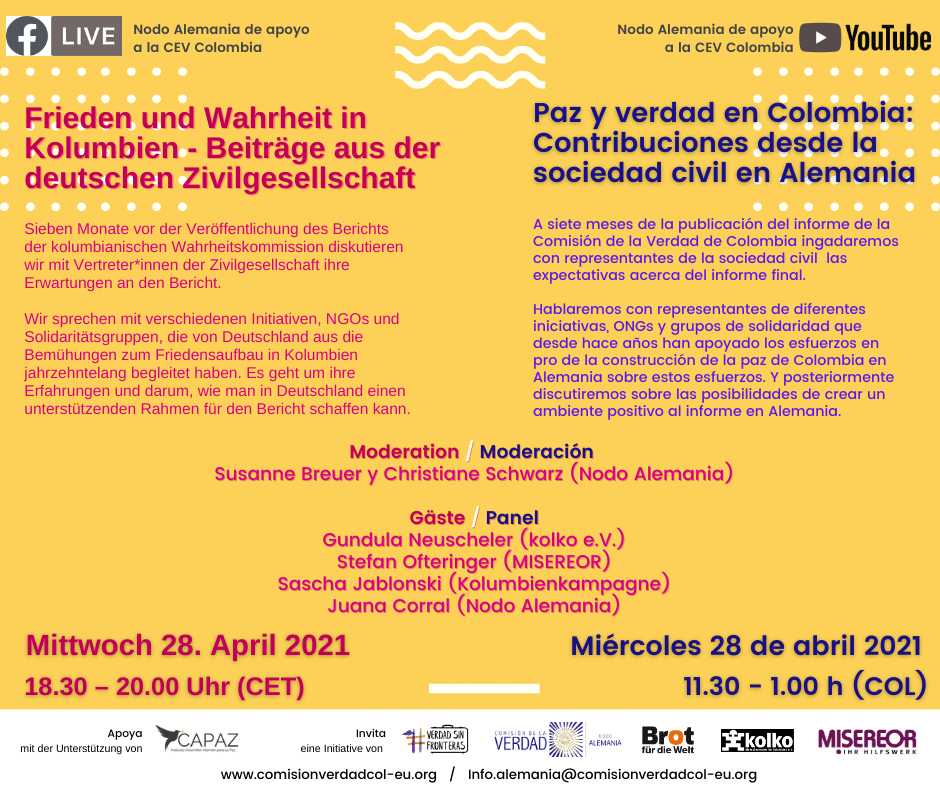 el conversatorio tratará sobre la participación de la sociedad civil en Alemania en el proceso de paz y el proceso de verdad de la Comisión en ese país, así como de las expectativas de este sector ante el Informe Final de la Comisión.